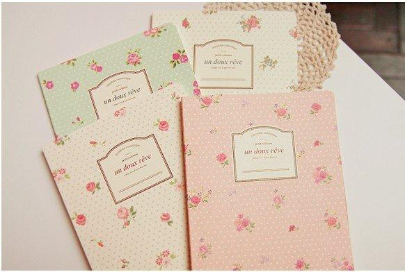 1pcs/lot NEW sweet vintage rose Notebook Diary fashion Gift notepads A5 book