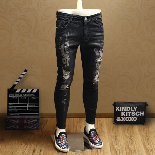 Summer new men's youth tide style personality casual European station nine points jeans