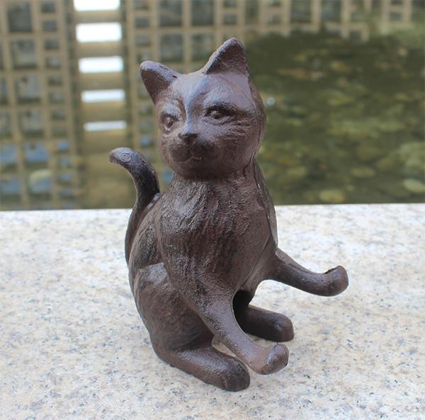 2 Pieces Cast Iron Cat Mobile Phone Holder Rustic Statuette Statue Figurine Mobile Phone Rack Home Bar Pub Club Desk Table Decor Vintage