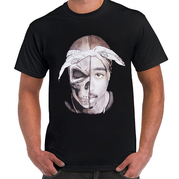 Tupac Shakur Skull Us Screen Printed Black T Shirts