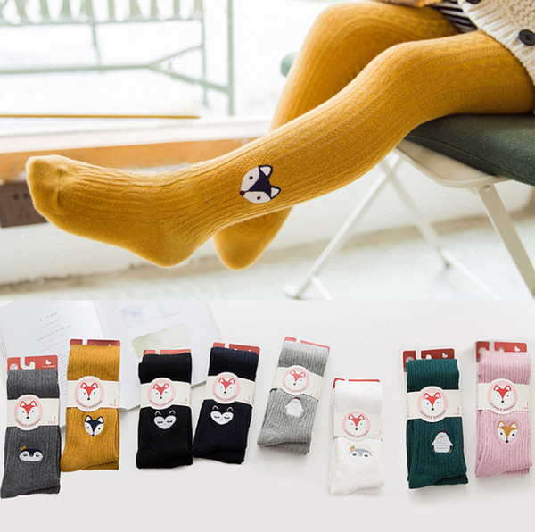 Girls pantyhose kids cute fox penguin embroidery leggings autumn winter child cartoon animal tights girl cotton princess bottoms pants R0543