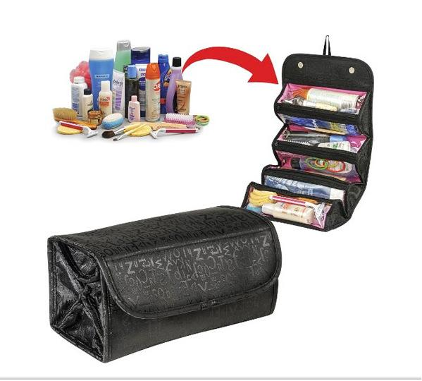 2 Colors Roll-N-Go Cosmetic Bag Rolls up for easy travel makeup items Storage bag with 4 Separated grids FREE shipping