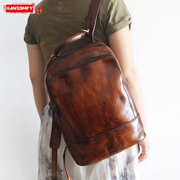 HANSOMFY New women's bag handmade rub color first layer leather men and women travel backpack retro unisex models shoulder Bags