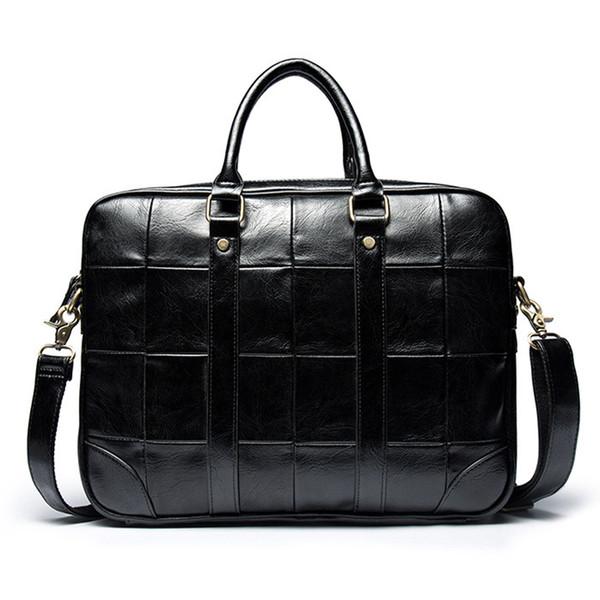 Vintage Man leather High Quality Briefcase Lattice Business 15 inch Laptop Bag Travel Black Fashion Men Handbag bolso hombre