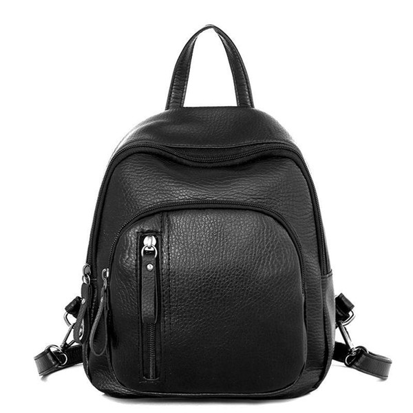 New Fashion Women Bags Solid Color Backpack Female Handbags Girl School Bags PU Leather Simple Shoulder Bag High Quality Backpack for Lady