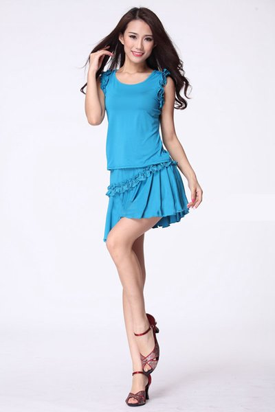 Latin square dance sets two-piece lace sleeveless shirt +lace skirt oblique car (safety pants) women wear dancing dress costumes clothes set