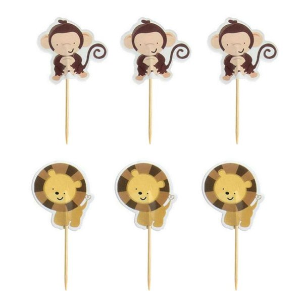 Wholesale- 24Pcs New Cupcake Toppers Picks Animal Shape Birthday Cake Decoration Toppers Pick Party Favors Accessories GB0181