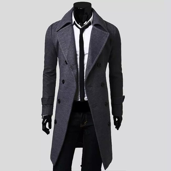 Wholesale- 2018 New Mens Trench Coat Slim Mens Long Jackets And Coats Overcoat Double Breasted Trench Coat Men Windproof Winter Outerwear