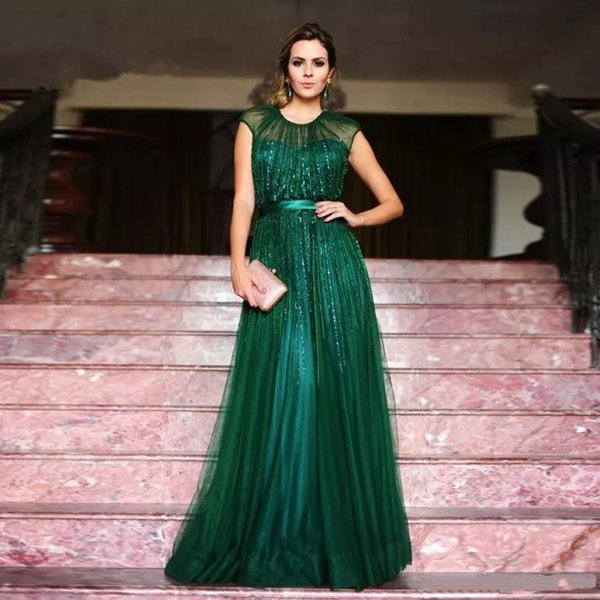 Esmeralda verde O-cuello de tul Vestido de noche Cinturón delgado con cuentas vestido de fiesta palabra de longitud formal de las mujeres vestido de fiesta