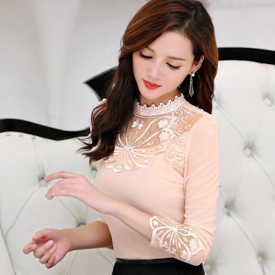 nuevo estilo coreano de las mujeres elegantes blusa de manga larga fruncidos volantes soporte cuello puño trimminig encaje buena calidad OL camisa S-XXL