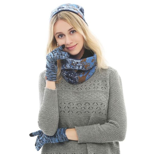 Winter Men and Women Beanie Hat + Scarf + Touch Screen Gloves 3 Pieces Winter Warm Clothing Set for Women 4 Colors