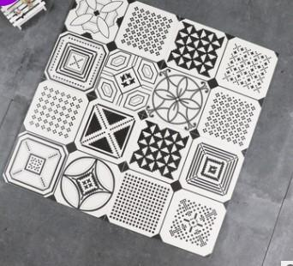 Nordic simple carreaux noir et blanc 300 * 300 art de toilette salon Floret carreaux figures géométriques carreaux vintage