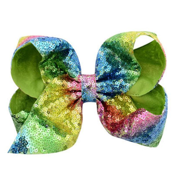 Fashion 8 Inch Sequins Bowknot Baby Girls Hair Clips Hot Sale Elegant Ribbon Bow Hairpin Clip Hair Accessories For Party Free Shipping