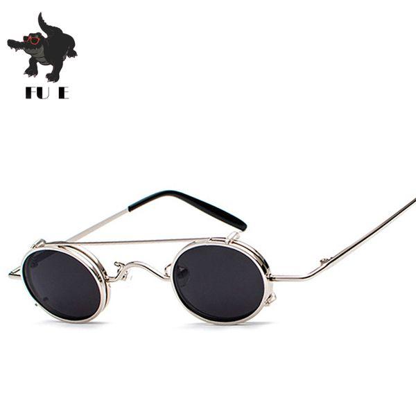 FU E Flip Up Polarized Sunglasses Classic Steampunk Men Women Sunglasses Metal Top Quality Brand Designer Vintage Glasses UV400
