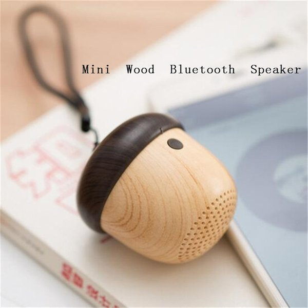 Mini wooden bluetooth portable speaker travel built-in microphone speaker nut stereo wireless Speakers with Mic for Outdoor free shipping