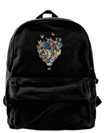 Pássaro Balão Da Lona Ombro Mochila Único Mochila De Viagem Para Homens Mulheres Adolescentes Faculdade Viagem Daypack Preto