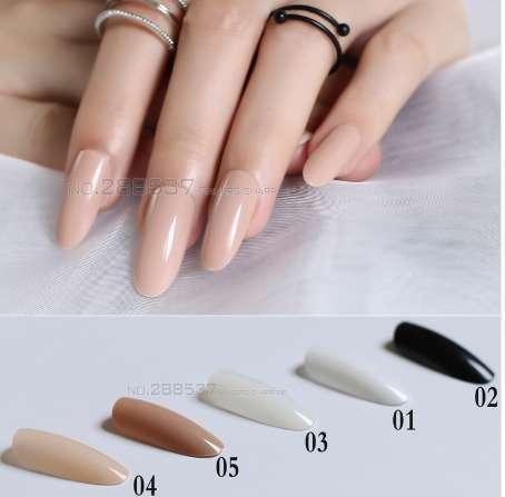 top popular New Black White Almond long oval head Solid color Round blown False nails 24pcs Full set end end product Full Tips Fake nails 2019
