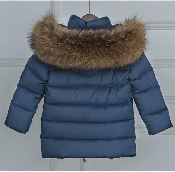 100% Natural Raccoon Fur Collar Jacket 2017 White Duck Down Coats Kid Long Thick Parkas Baby Navy Blue Jackets Windbreaker Coats