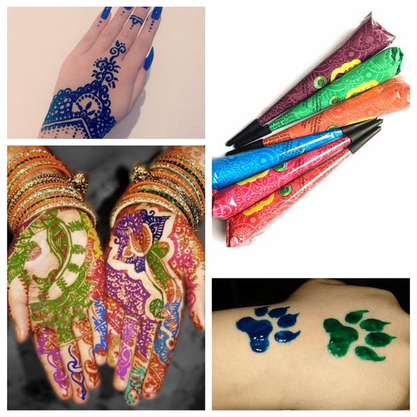 9 Color Design Sex Mehndi Henna Tattoo Paste, Indian Henna Cone Body Art Cream Temporary Body Paint Arts Wedding Tatoo
