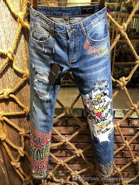 известные роскошные итальянские бренды Dolc завод slim fit осень мода лоскутное джинсовые рваные молнии байкер тощий 3D печатных джинсы отверстие для мужчин