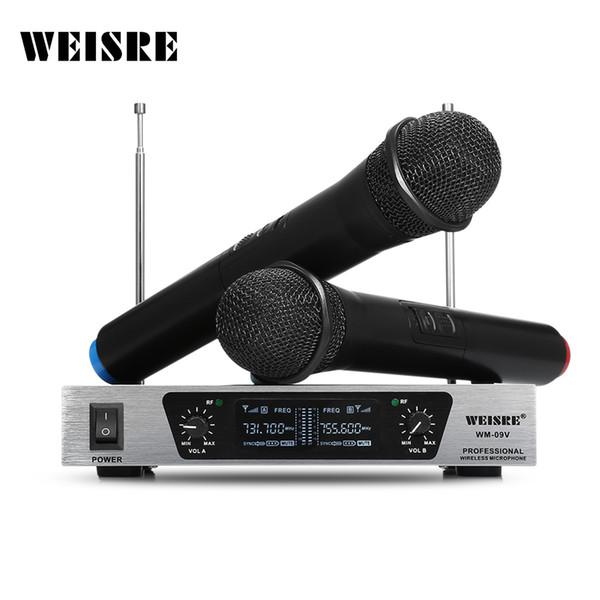 WEISRE Professionnel Sans Fil Dynamique Microphone Système VHF Karaoké pour la Maison KTV Partie Salle de Classe Discours Mic mikrafon Mikrofon