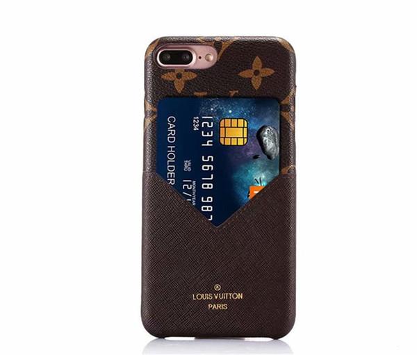 Hot Luxury Fashion Models Colorido Rejilla de cuero Teléfono tapa trasera para iphone X Xr Xs Max con tarjeta de crédito estuche blando para iphone 6 6s 7 8 Plus