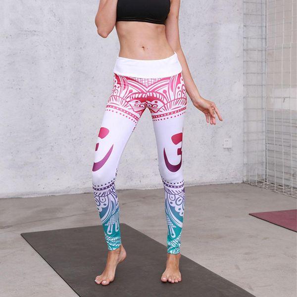 Frauen Bohemian Style Digital Print Leggings Sport Abnehmen elastische dünne lange Hosen