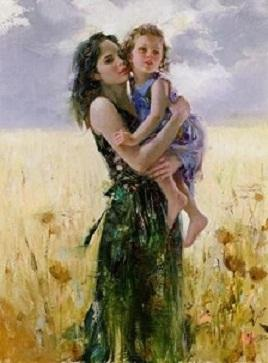 Pino Daeni Mother and Daughter Close to My Heart High Quality Hand-painted /HD Print Portrait Art Oil Painting On Canvas Multi sizes P015