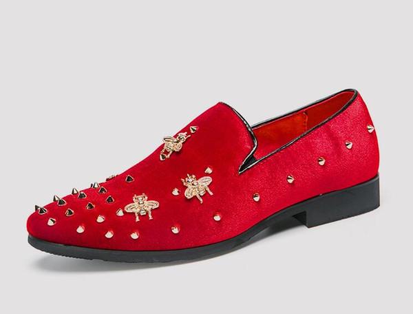 2018 New arrives mens shoes Dress shoes mens loafers stylist corduroy metal apis florea Rivets designer shoes men luxury loafers