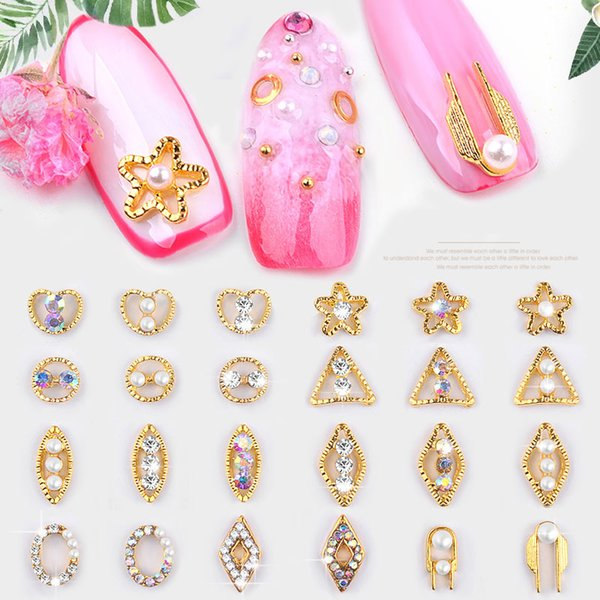 1pc Hollow Nail Art Decorations Oval Rhombus Metal Frame Mounted Crystal Diamonds Pearls Golden Triangle Studs 3d Manicure New