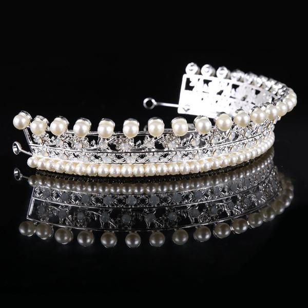 Bridal accessories crown bridal alloy with pearl rhinestones hair accessories bridal tiara wedding dress modeling accessories