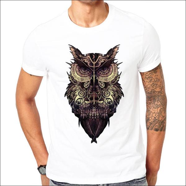 Create T Shirt Short Sleeve Printing O-Neck Owl Gears Shirt For Men