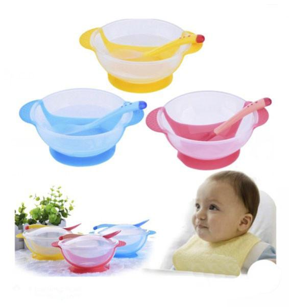 Bebé aprendiendo platos con ventosa ayudar a la temperatura del tazón de alimentos cuchara de detección gota bebé cuchara tazón conjunto