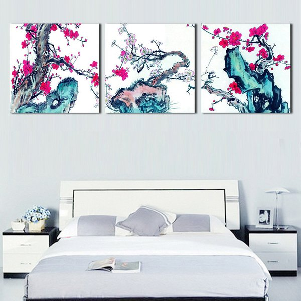 Canvas Modular Framework Wall 3 Pieces Blossom Flowers HD Print Art Painting Popular Picture For Living Room Decor Poster