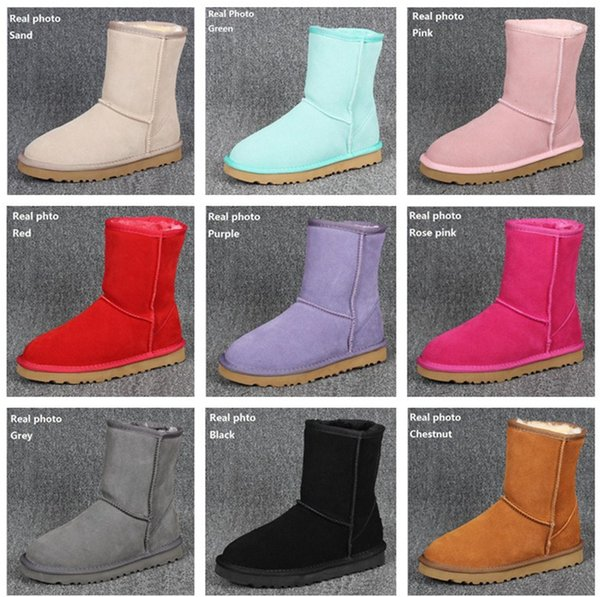 Plus Size US3-14 Ugs Women Snow Boots Classic Style Cow Suede Leather Waterproof Winter Warm Short Boots Brand Ivg 12 Colors