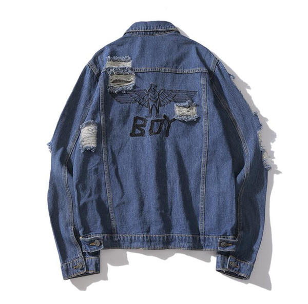 Casual fashion Europe and America brand personality zipper wash water damage men and women couple denim jacket
