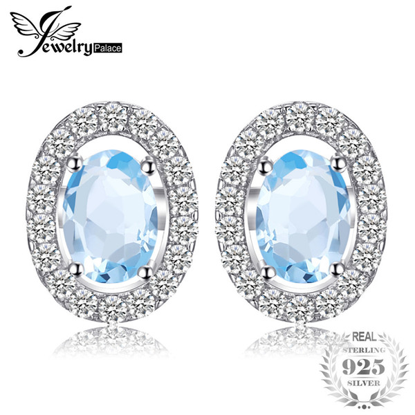 JewelryPalace Oval 1.1ct Natural Blue Topaz 925 Sterling Silver Stud Earrings Natural Gemstone Fine Jewelry for Women D1892601