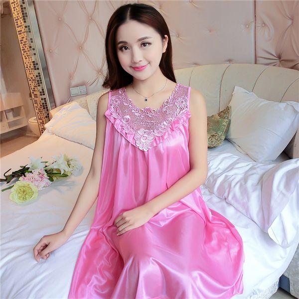 f5f73a647097 Plus Size 4XL Women's Sexy Silk Nightgowns Ladies Lace Long Sleepwear 2018  Summer Girls Sleeveless Loose