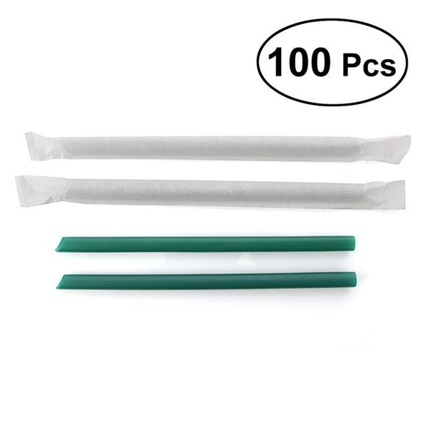 100Pcs Big Non-transparent Disposable Plastic Thick Drinking Straws Mason Jar Straws for Party or Home Use (Dark Green)