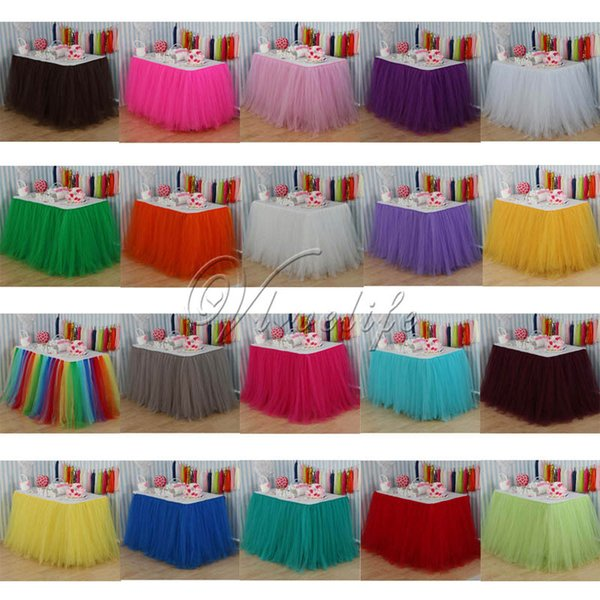High Quality100cm X 80cm Tulle Tutu Table Skirt Custom Wonderland Tulle Table Skirting Wedding Birthday Baby Shower Party Decoration