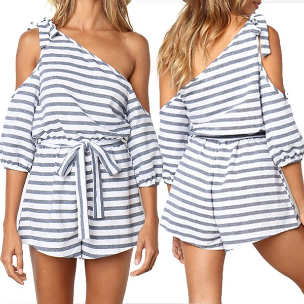 top popular Occident Style Summer Casual Jumpsuits With Belt Women Monochrome Stripe Cold Shoulder Tie Waist Romper Playsuit RF0917 2019