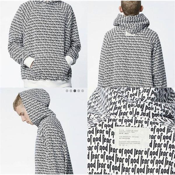 Tanrı'nın Korkusu Hoodie Tam Mektubu Baskı Justin Bieber Hoodie Kazak Erkekler Hip Hop Kaykay Korku Tanrı Hoodies