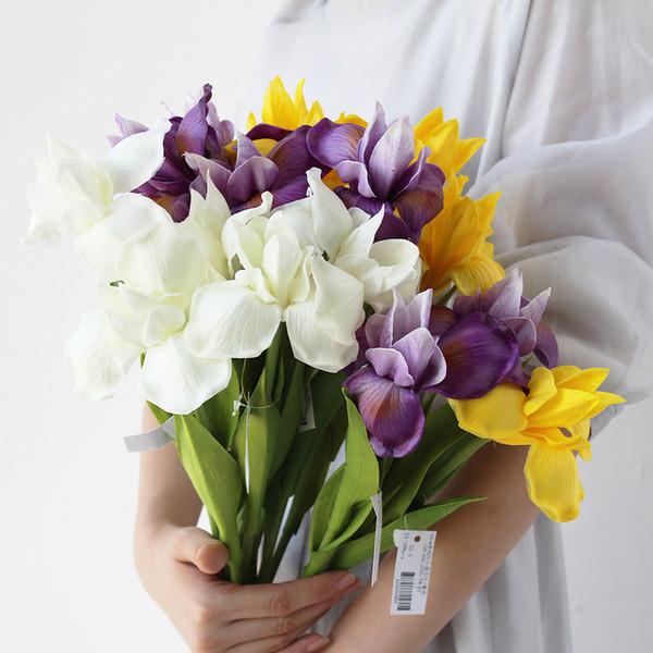 PU Feel Simulation Orchid Iris Artificial vívida Flor Hogar Para La Boda Decoración de la Sala de Flores Falsas