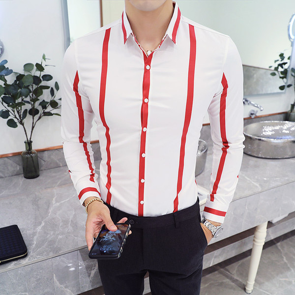 43d2c205d07d New Arrival Trend Mens Shirts Printed Striped Pointed Collar Single  Breasted Shirts Non-iron Youth