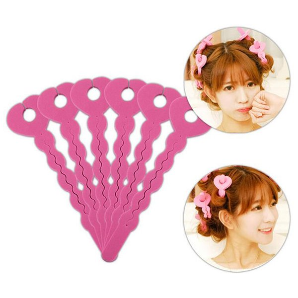 6Pcs/Set Hot Selling Sponge Foam Hair Magic Soft Bendy Curler Roller Strip Heatless Tool Pink Hair Styling Tools Accessories