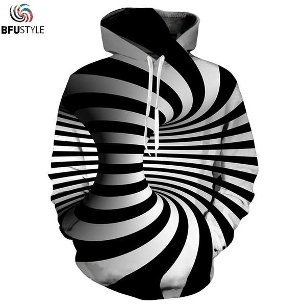 2018 Autumn Winter Hypnotize Hoodies Hoodie Men Black White Striped Pullover Sweatshirts Male Women Tops Long Sleeve Hoody