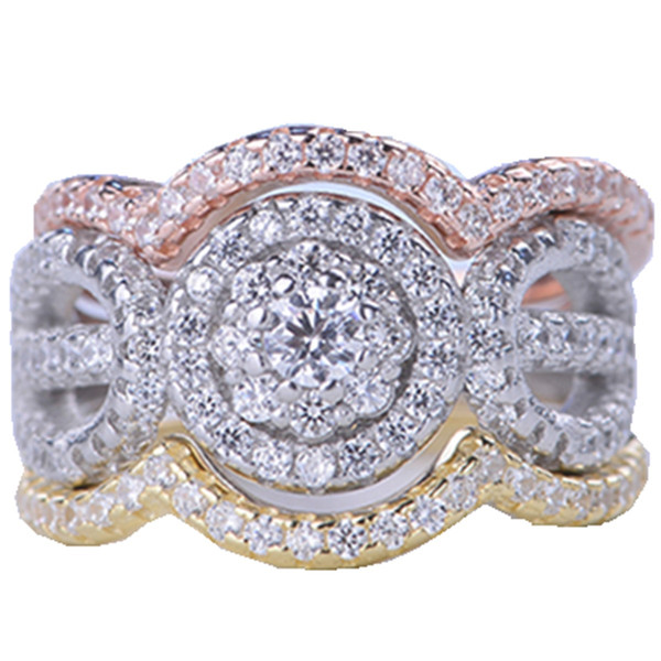 New Luxury Sterling 925 Silver 3 Rounds Ring Set 3A CZ Women Crystal Wedding Rings Classic Engagement Rings Jewelry Wholsale Gifts