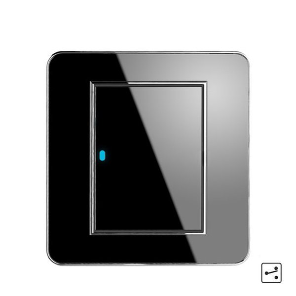 New Arrival 1 Gang 2 Way Random Click Push Button Wall Light Switch With LED Indicator Acrylic Crystal Panel