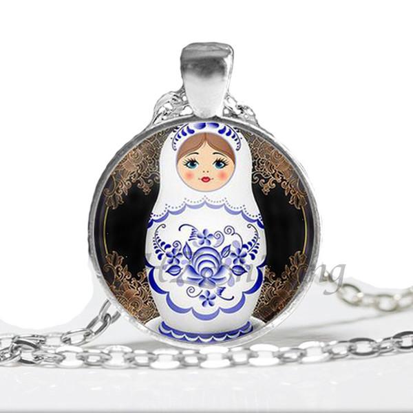 NS-00737 Tradición Muñeca Rusa Imagen Collares pendientes Joyería de las mujeres Cadena de cristal de la vendimia Cabujón Collar Al por mayor