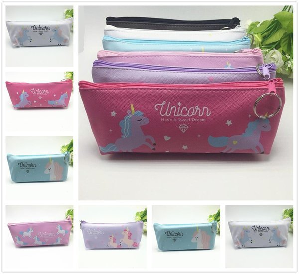 Fashion Mixed Color Simple Unicorn Pattern PU Storage Bag Home Party Lovely Gift Decor Free Shipping
